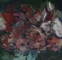 Rote Rosen mit Vase, 30 x 30 cm