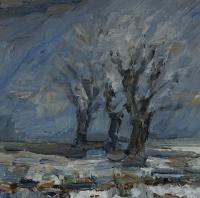 Winter am Kühkopf II, 30 x 30 cm