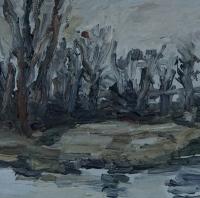 Am Altrhein im Winter IV, 30x30 cm